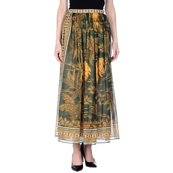 Valentino Long Skirt ($365) ❤ liked on Polyvore featuring skirts, military green, maxi skirts, floral skirts, olive maxi skirt, flare skirts and flared skirt