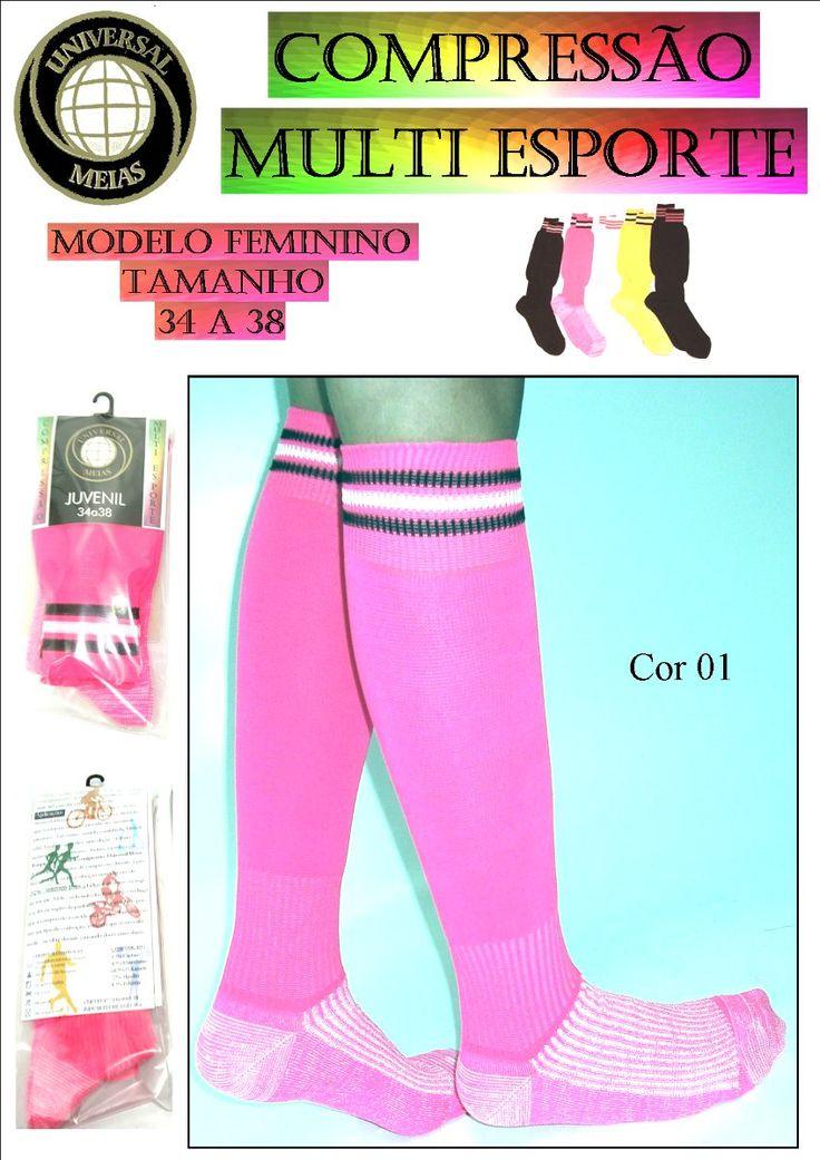 meia 3/4 compressão multi esporte -feminino- universal meias
