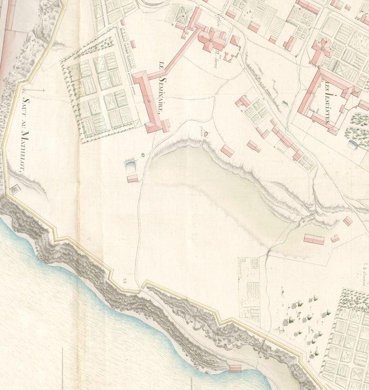 Quebec portes fortifications | Le Séminaire vers 1692. L'aile des Parloirs n'est toujours pas ...