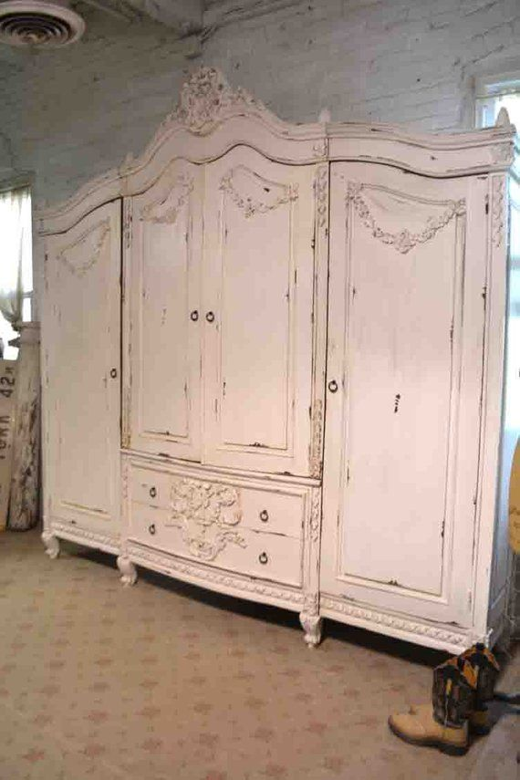 French Armoire Painted Cottage Chic Shabby French Romantic Armoire Wardrobe Media Cabinet Am260 French Armoire Painted Cottage Cottage Chic