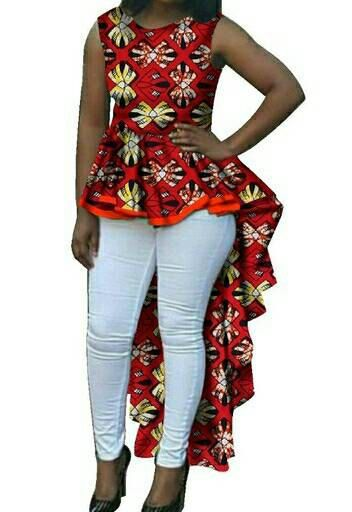 this lovely top is made from various african print fabric and is made to fit perfectly. Available in red,green and orange and in different