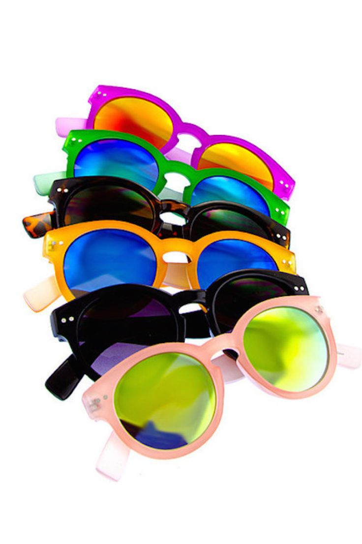 - Women's Fashion Sunglasses with UV 400 lens - Round Cat Eye Style - Bright Mirrored And Dark Lens - Multiple Colored Assortment - Great for any occasion!