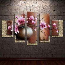 100% El-boyalı modern duvar sanatı oturma odası salon dekorasyon soyut altın Çevreleyen kenar çiçek yağlıboya(China (Mainland))