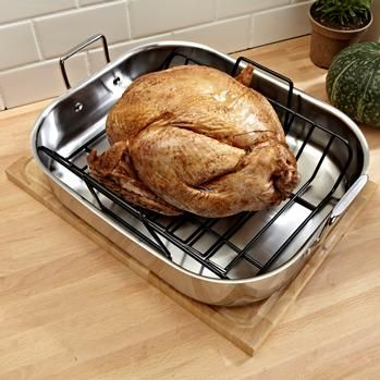 Ksp Kuisine Open Roaster W/Rack 42 X 35 X 8 Cm Stainless Steel   Kitchen Stuff Plus