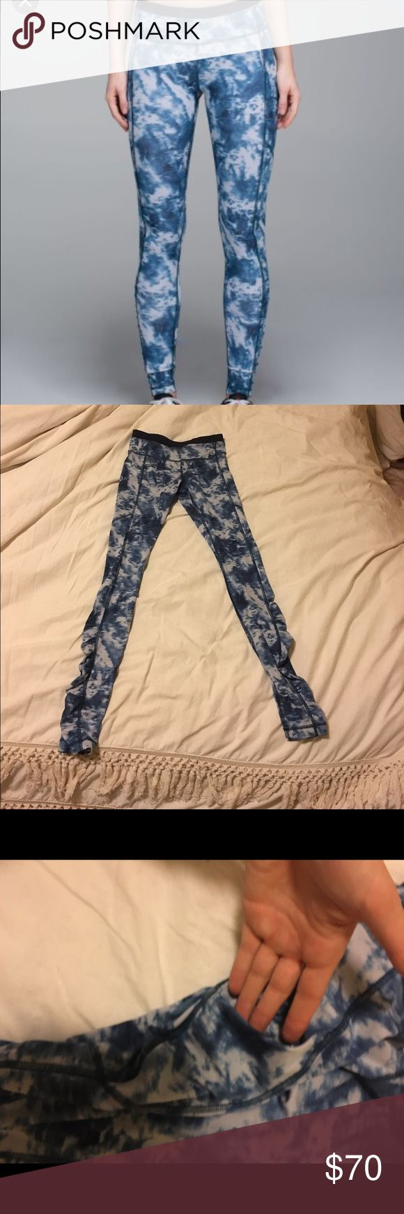 Lululemon blue tie dye leggings Great pants. Worn once, just a little too small. Tags removed. Has 2 hidden pockets (1 back 1 front) for keys in addition to 2 side pockets. Scrunch detail at ankles. Another pair of great lululemin exercise pants! lululemon athletica Pants Leggings
