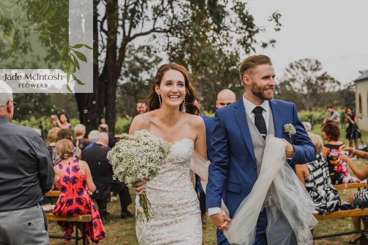 Michelle & Ash are all smiles after tying the knot  www.jademcintoshflowers.com.au http://curlytreephotography.com.au