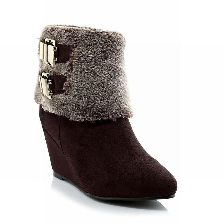 Show Shine Women's Fashion Buckles Wedge Heel Ankle Boots * You can find  out more details