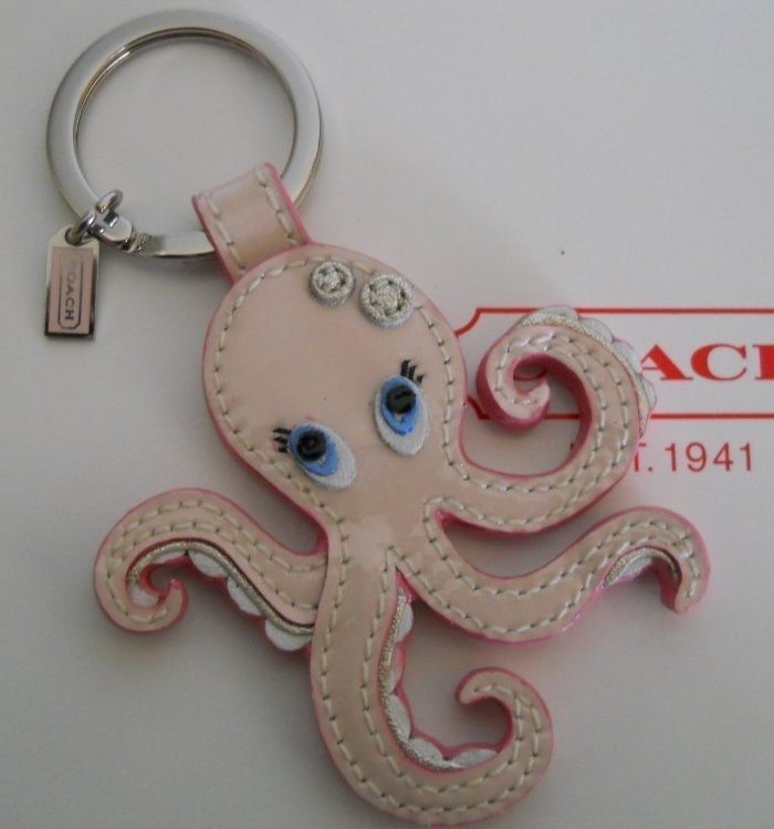 New COACH Pink Patent Leather Octopus Key Ring Fob Charm