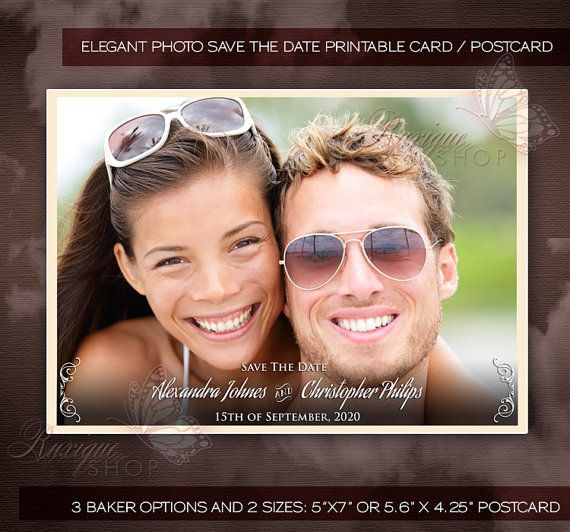 Elegant Photo Save The Date Retro Antique Text and by Ruxique