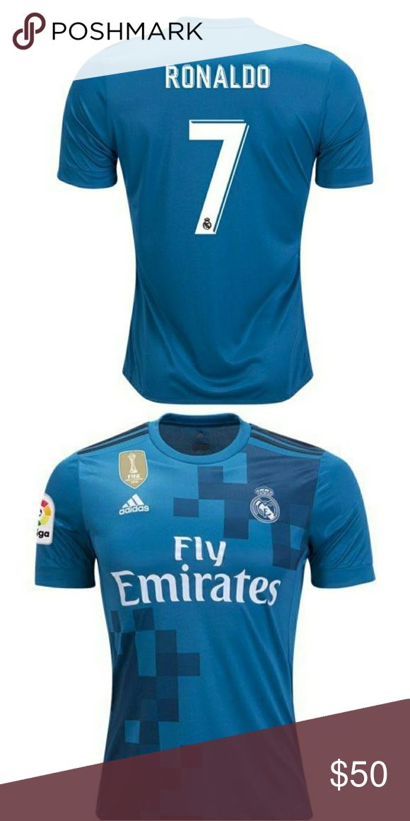 RONALDO #7 REAL MADRID THIRD JERSEY PRE-ORDER This a pre-order RONALDO #7 THIRD AWAY JERSEY SIZE SMALL TO 4XL.  Choose :  1: LA LIGA PATCH  2: CHAMPIONS LEAGUE PATCH   PLEASE MSJ   PRE-ORDER TAKE ABOUT 5-7 DAYS PROCESSING, PERSONALIZING,QUALITY CHECK AND PACKING. AFTER SHIP TAKES ABOUT 3-4 DAYS TO ARRIVE TO THEIR FINAL DESTINATION. adidas Shirts Tees - Short Sleeve