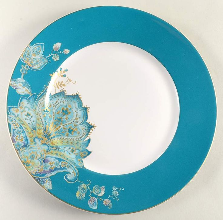 Norah Teal Dinner Plate by 222 Fifth (PTS)