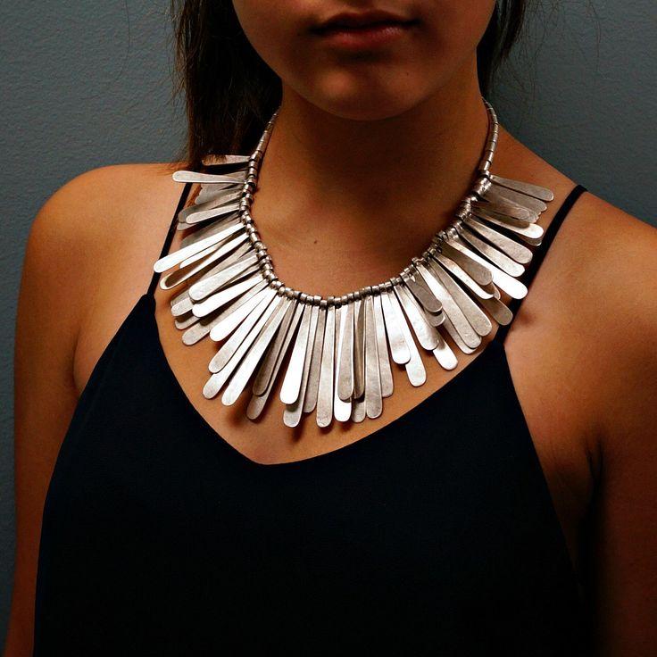 Fringe Silver Statement Necklace Gypsy Boho Necklace by sowelljewelry on Etsy https://www.etsy.com/listing/220320673/fringe-silver-statement-necklace-gypsy