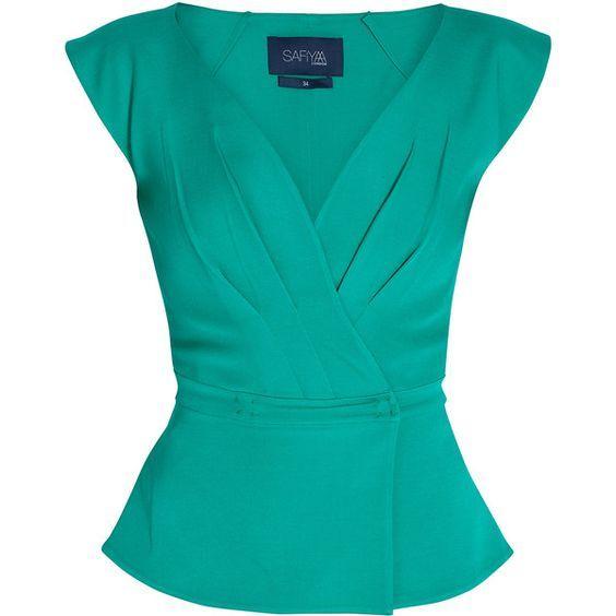 SAFIYAA Deep V neck Top featuring polyvore fashion clothing tops blouses shirts blusas blue shirt peplum tops ruched shirt shirred top shirts & tops