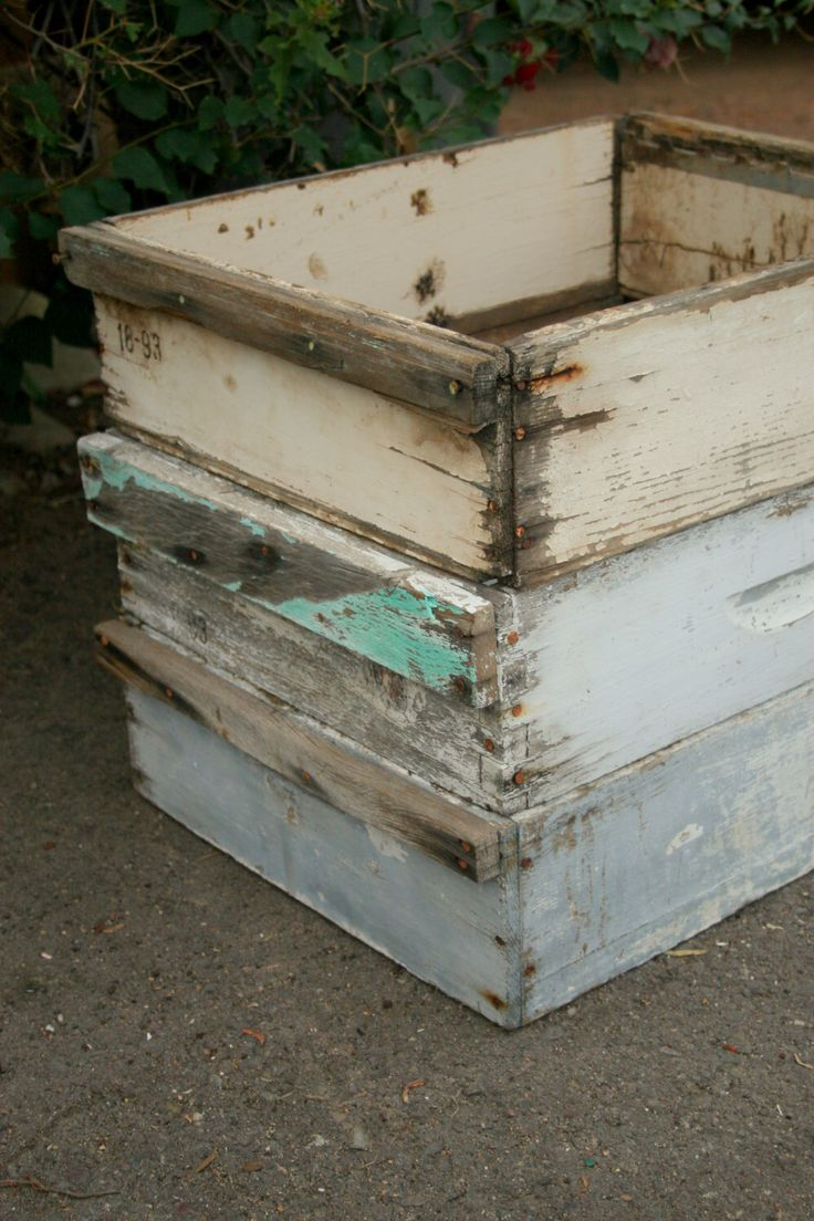 Vintage Bee Hive Boxes - Bee Box - Lugs - Crates - Old Wood Box - Wall Shelf - Storage Bins - Wood Crate - Rustic Bee Super Shadow Planter by Ricketyswank on Etsy https://www.etsy.com/listing/160748021/vintage-bee-hive-boxes-bee-box-lugs