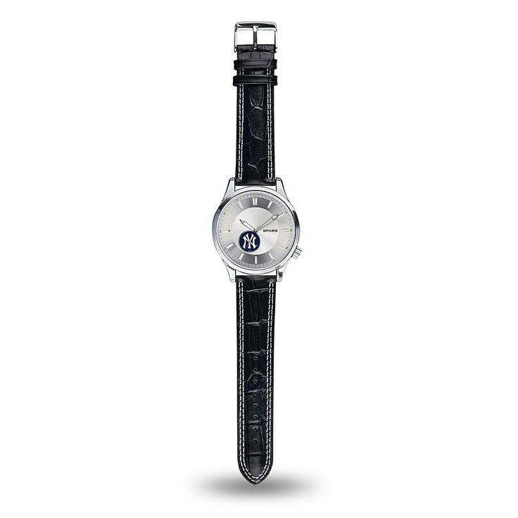 """Rico MLB Team Logo """"Icon Series"""" Sub-Second Dial Leather Strap Sports Watch - New York Yankees"""