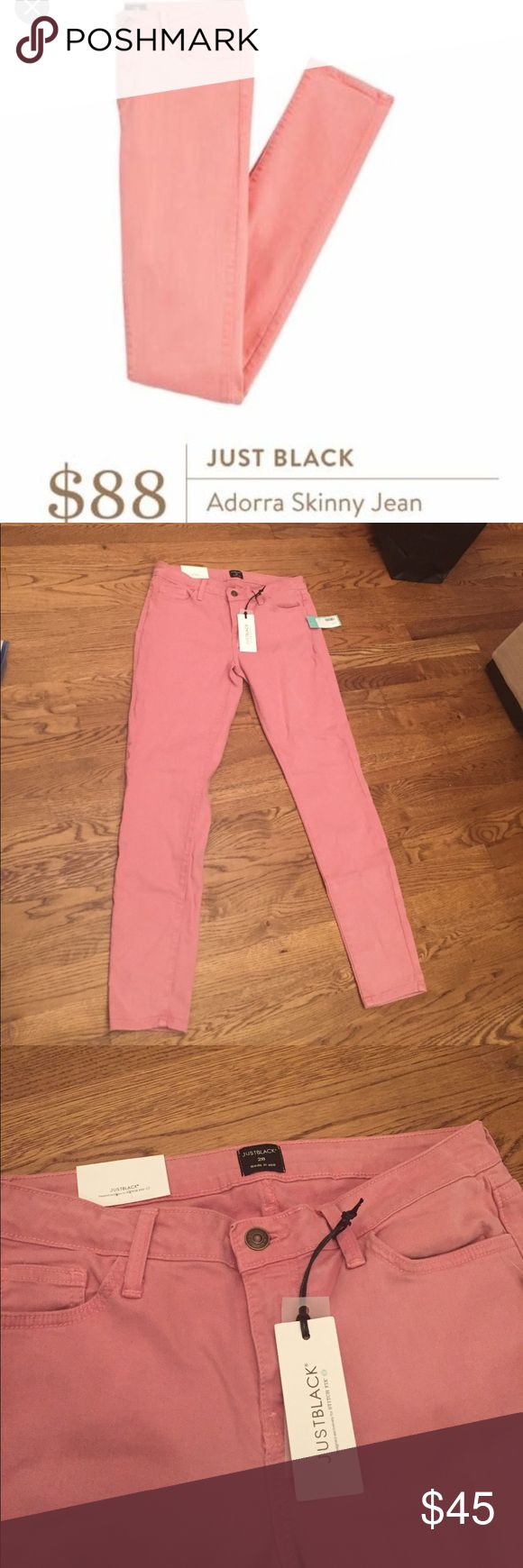 NWT Stitch Fix Just Black Adorra Pink Skinny Jeans Brand new with tags.  Originally $88 on Stitch Fix (see pic from Pinterest and originally Stitch Fix).  Super cute color!!  Make me an offer!! Stitch Fix Pants Skinny