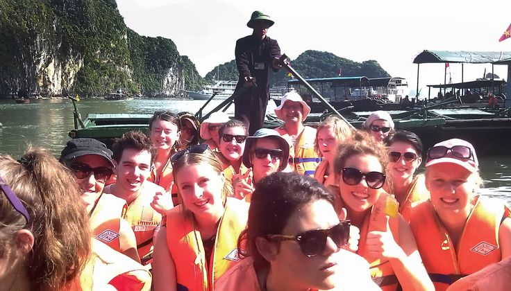 No need for mobile phones out here; just good friends and a sense of adventure. #HaLongCave #BoatCruises #VietnamSchoolTours