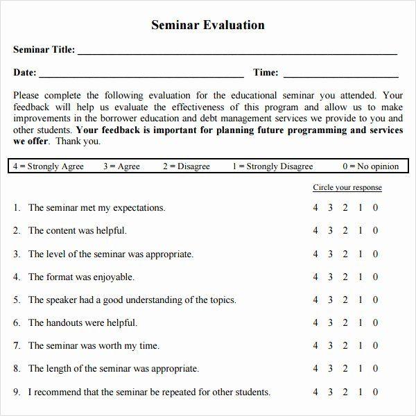 Evaluation Form Template Free Lovely Workshop Evaluation Form 10