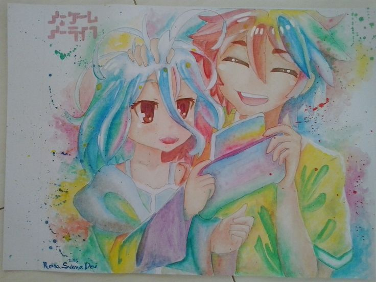 Sora and Shiro - No Game No Life i try to use watercolor.. Sora is not look like Sora :v