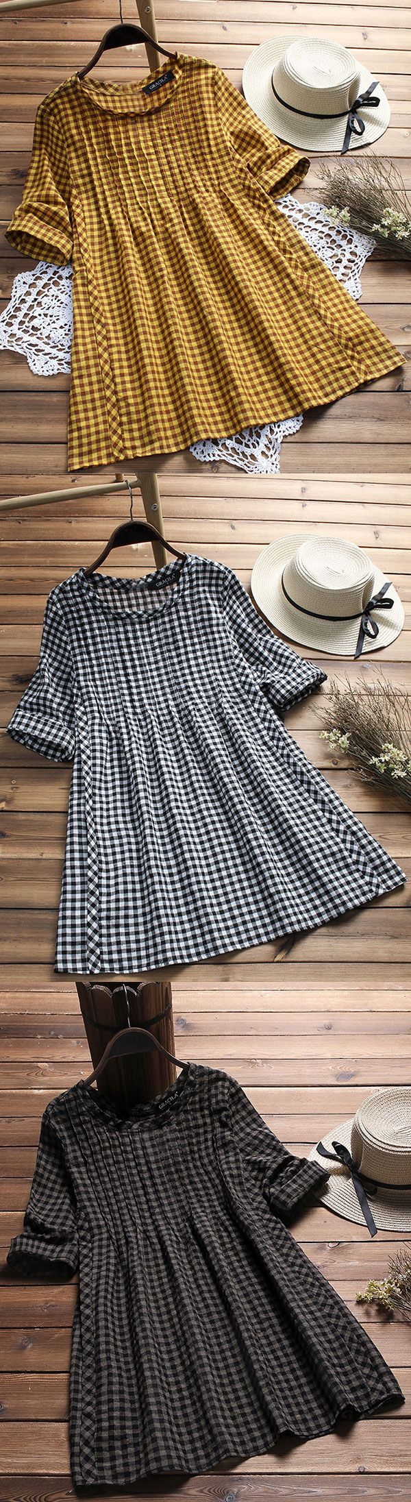 Vintage plaid print loose half sleeve O-neck blouses for women. Soft and breathable clothing you need. Shop Now!