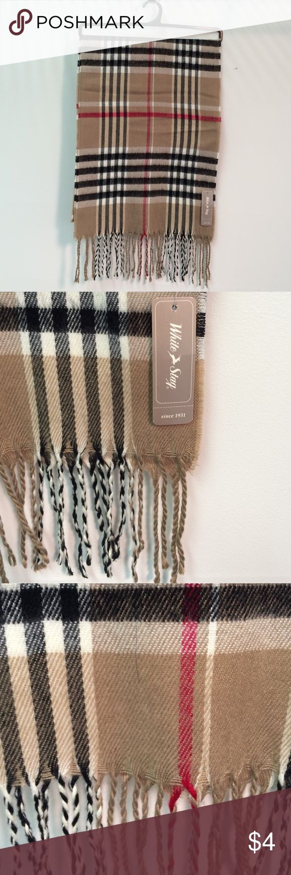 White Stag Camel Plaid Muffler Scarf - One Size 100% Acrylic Plaid Scarf White Stag Accessories Scarves & Wraps
