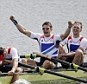 British four blow Aussies away to maintain record of Sir Steve and Co     On the podium, Andrew Triggs Hodge boogied without fear of embarrassment as 25,000 people roared their approval from the banks of the Olympic lake at Eton Dorney.