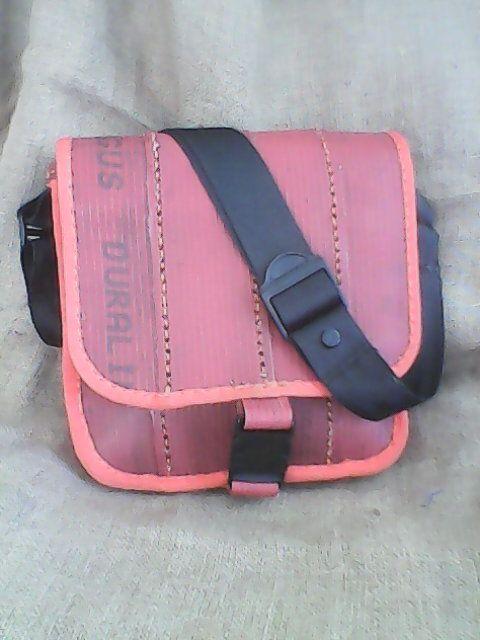 Reclaimed Fire Hose Messenger Bag with Seat belt Strap
