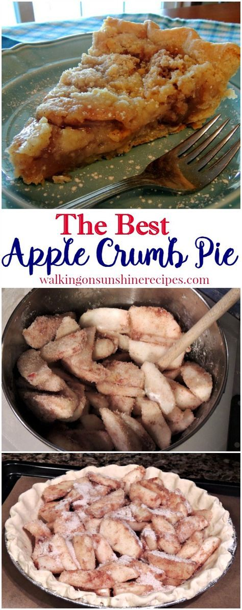 If you love apple crisp, you're going to love this apple crumb pie recipe from Walking on Sunshine Recipes. #thanksgivingdesserts #thanksgivingpies