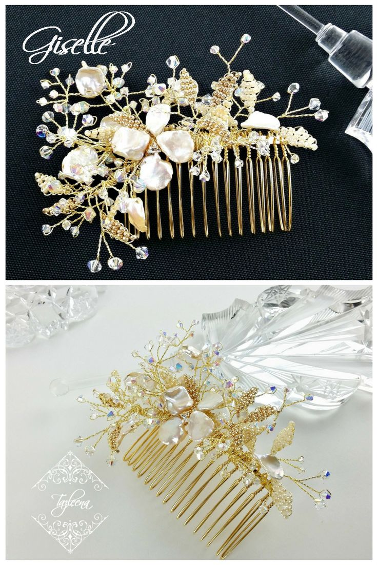 What could be more suitable for a bridal headpiece than a pearl hair comb named Giselle...meaning promise and pledge?
