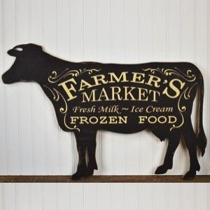 Cow Shaped Farmer's Market Sign