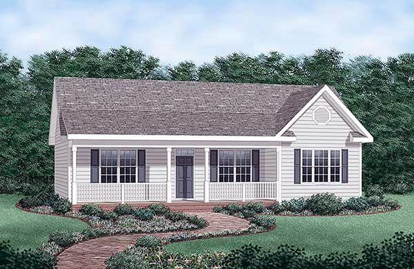 Elevation of Ranch House Plan 45476 nice clean plan under 1400 square feet split bedrooms