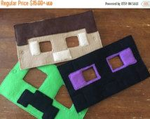 Valentines2016 Inspired Minecraft Masks.pretend. dress up. halloween.