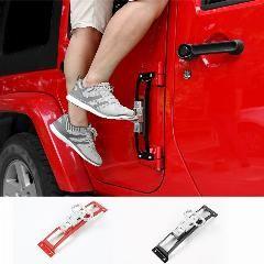 Einzigartiger Stil Rot Schwarz Auto Fußstütze Pedal Metall Fußstütze Pedale Platte Außen Pedal Board Für Jeep Wrangler 2007 Up