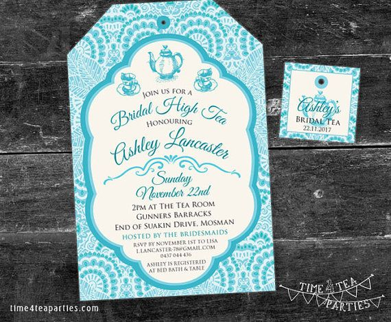 Moroccan Tea Bag Tea Party Invitation  Bridal by Time4TeaParties