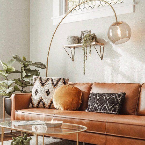 Overarching Acrylic Shade Floor Lamp Floor Lamps Living Room