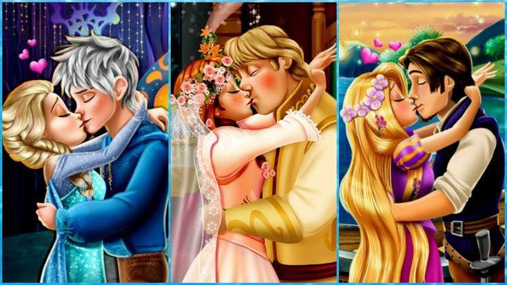 Juegos de Princesas Disney:  Beso de la boda de Elsa, Anna y Rapunzel
