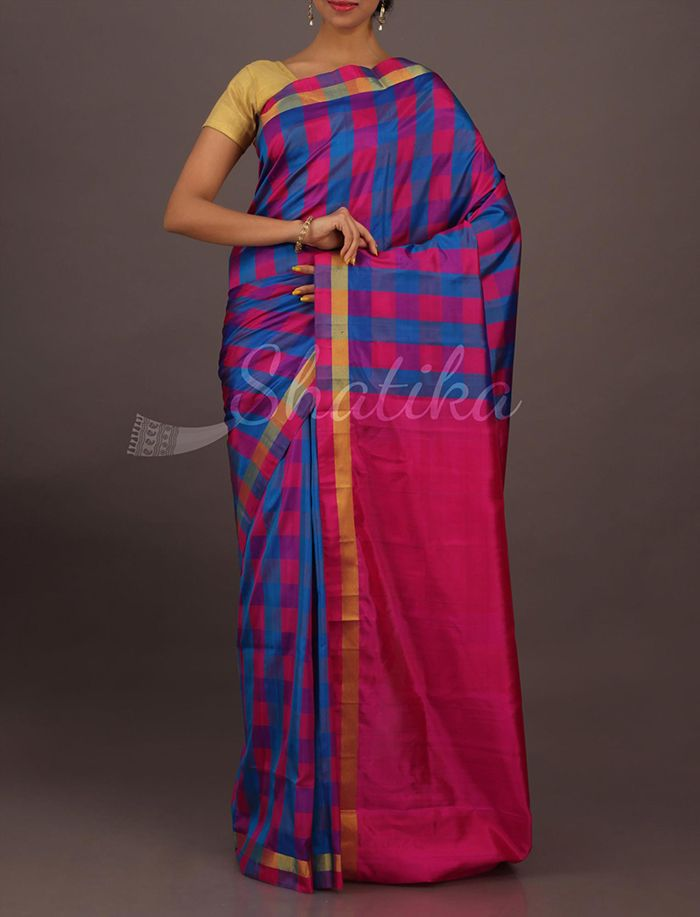 Anvita Vibrant Combined Checks Plain Pallu Contemporary #SoftSilkSaree