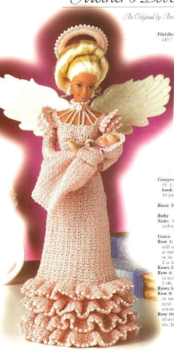 X800 Crochet PATTERN ONLY Fashion Doll Mother's Love Angel Gown Halo & Baby Barbie
