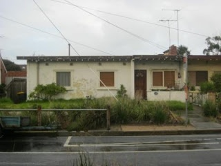 """The """"Experimental Concrete Houses"""" at 324 - 326 Howe Parade, Fishermen's Bend. Built by the Housing Commission of Victoria in 1939, they were built using the then-new technique of assembling homes from pre-cast concrete slabs."""