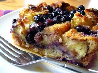 Blueberry cinnamon roll bread pudding.  Great for leftover cinnamon rolls