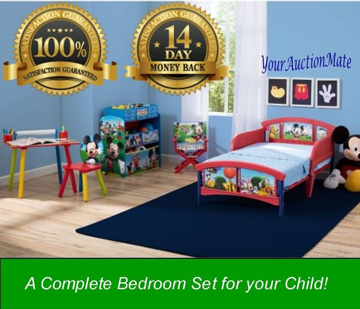 Disney Mickey Mouse Room-in-a-Box Bundle Bed Desk Chair Toy Bins Toddler Kids  #Disney
