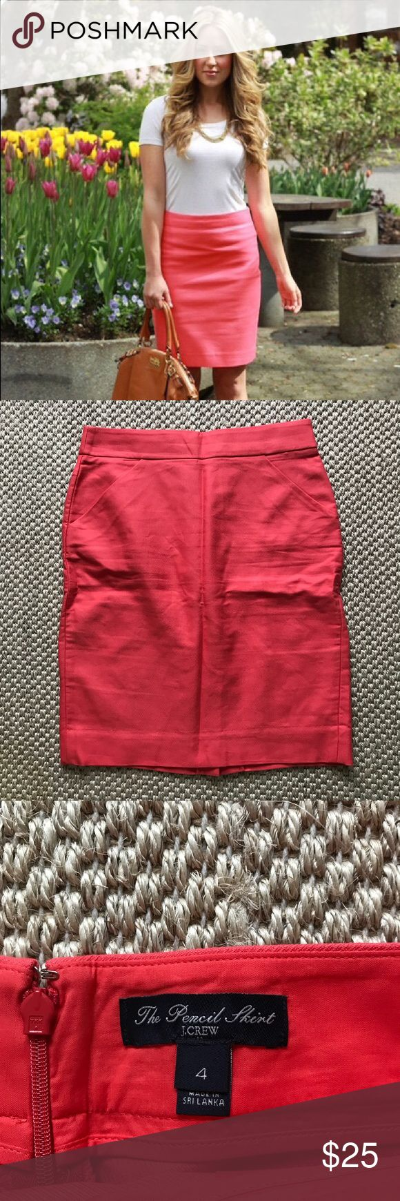J. Crew coral pencil skirt J. Crew coral pencil skirt. Size 4 J. Crew Skirts Pencil