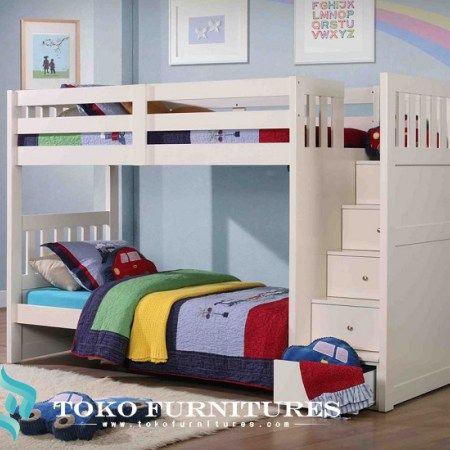Ranjang Anak Tingkat Warna Putih,dipan tingkat minimalis terbaru,tempat tidur tingkat anak modern