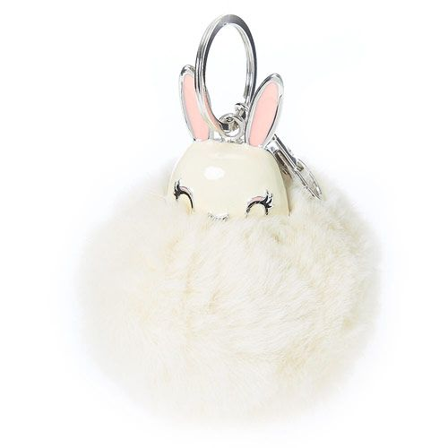 White Pom Pom Key Chain Bunny