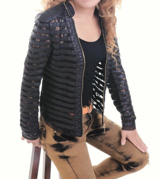 see through / cutout  Women's Motorcycle Lace / Faux Leather Jacket