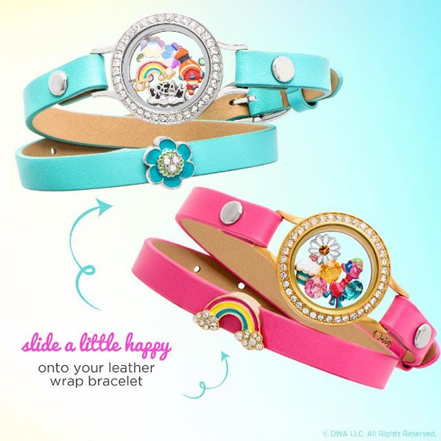 TROLLS! Origami Owl Living Lockets filled with fun charms on genuine Leather Wrap Bracelets in fun colors and patterns - add a slider too. Come create your own look at StoriedCharms.com