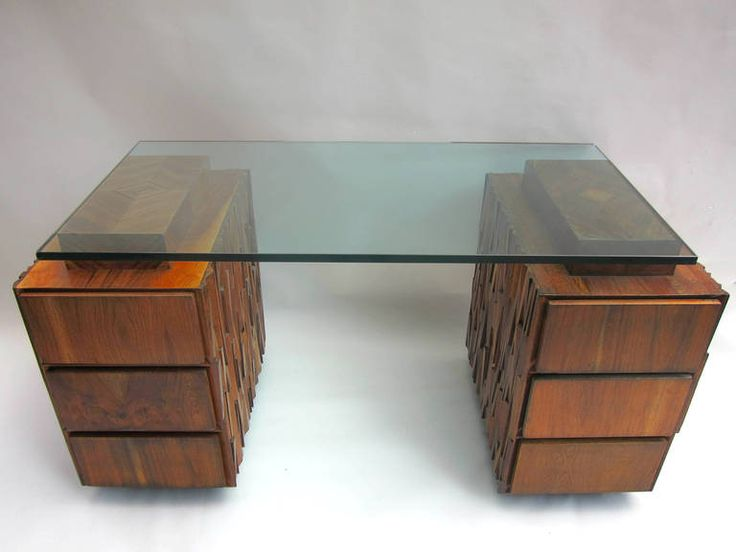 1970s Tropical Wood Desk by IDEA | From a unique collection of antique and modern desks and writing tables at https://www.1stdibs.com/furniture/tables/desks-writing-tables/