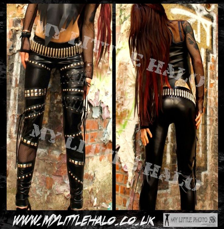Sexy gothic, heavy metal style wet look leggings featuring black fishnet on the thighs and calves, studded black faux leather and black ribbon lace ups