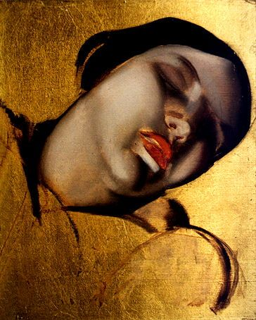 Figure Sketched on a Gold Background  by Tamara de Lempicka