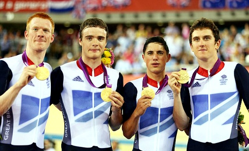 Team GB Medals 2012  18. Men's Pursuit Team (Edward Clancy, Steve Burke, Peter Kennaugh and Geraint Thomas) - GOLD  (Cycling, Track: Men's Team Pursuit)